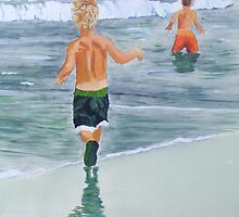 Two beach boys by Susan Brown