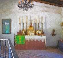 Stylized photo of the Chapel  in the adobe mansion La Casa de Estudillo in Old Town San Diego. by NaturaLight