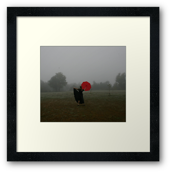 Fog With Red Umbrella 1 by L Hartley
