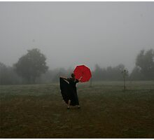 Fog With Red Umbrella 1 Photographic Print