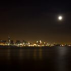 Moonlit Liverpool City Waterfront by William Lee