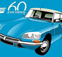 Citroën DS 60 years blue by car2oonz