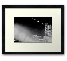 Madrid Spain city skyline at night black and white photograph Framed Print