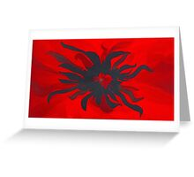 Black and Red  Spider Flower Greeting Card