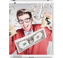 Happy accountant man in rain of falling money iPad Case/Skin
