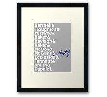 DOCTOR WHO THE DOCTORS' NAMES Framed Print