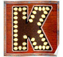 Vintage Lighted Sign - Monogram Letter K Poster