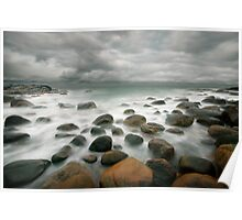 stormy stone beach Poster