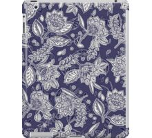 Decorative Floral Doodle Pattern in Navy iPad Case/Skin