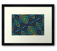 Tribal Style Colorful Geometric Pattern Framed Print