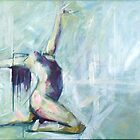 Nude Dance in Teal: Print of painting for sale by Samuel Durkin