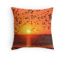 GULLS AT SUNSET Throw Pillow