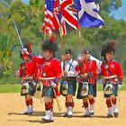 Stylized photo of the Highland Games color guard leading the parade at the San Diego Scottish Highland Games & Gathering of Clans in Vista, CA US. by NaturaLight