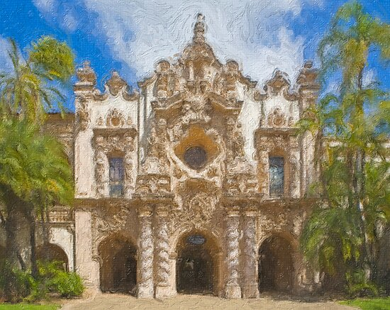Stylized photo of Spanish architecture:  Casa del Prado in Balboa Park, San Diego CA. by NaturaLight