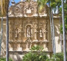 Stylized photo of Spanish architecture: Casa del Prado Theatre in Balboa Park, San Diego CA. by NaturaLight