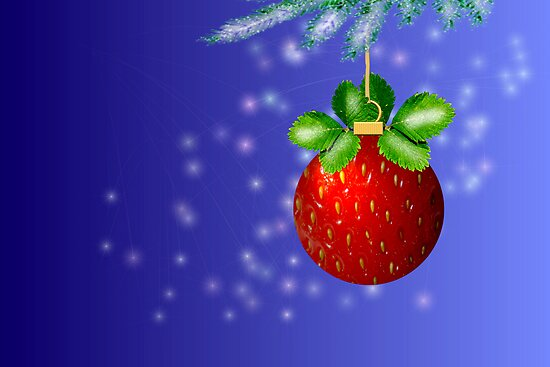 Strawberry ball, blue background with snow by savage1