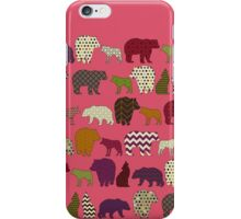 bear wolf geo party pink iPhone Case/Skin
