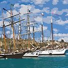 Stylized photo of theTall Ship Exy Johnson, Tall Ship Lynx, Tall Ship Irving Johnson, and Tall Ship American Pride in Dana Point Harbor, CA US. by NaturaLight