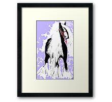 Friesian Horse in Black and White Framed Print