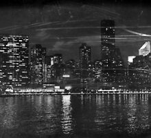 Postcard in black and white, Midtown Manhattan skyline at night  by Reinvention