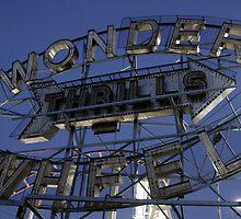"Vintage ""Wonder Wheel Thrills"" sign at the Astroland amusement park at Coney Island  by Reinvention"