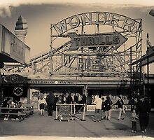People at Coney Island by the Wonder Wheel  by Reinvention