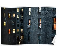 A New York City courtyard with lit windows at dusk  Poster