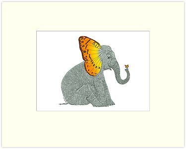 Elephant looking at Butterfly by SusanSanford