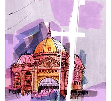 Flinders Street Station, Melbourne by Roz McQuillan
