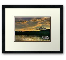 Geese with Boats, Newfound Lake Hebron, NH Framed Print
