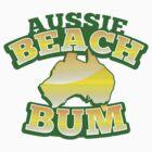 Aussie Beach Bum cute Australian design with map of Australia by jazzydevil