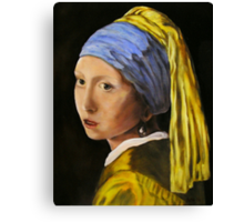 """""""Pearl Earring with Girl Attached"""" - oil painting (inspired by Vermeer) Canvas Print"""