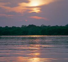 Sunset on the Amazon River, Brazil by Paris Lee