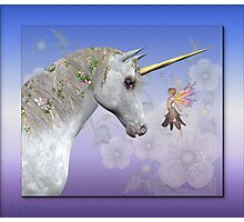 The unicorn and the fairy Photographic Print