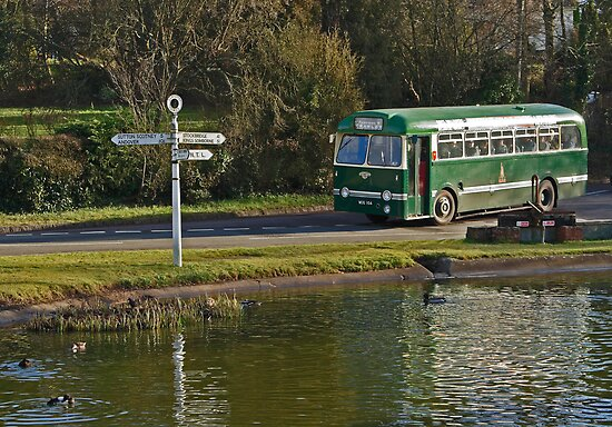 Village Pond and Local Bus by Hertsman