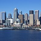 Seattle waterfront skyline,with ferry by cascoly