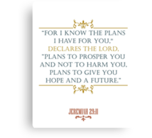 Prosper and Hope in the Future Christian QUote Canvas Print