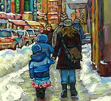 BEST MONTREAL PAINTINGS WINTER URBAN SCENES MONTREAL by Carole  Spandau
