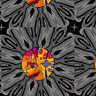 Girl With Kaleidoscope Eyes and black and gray background by Sarah Curtiss