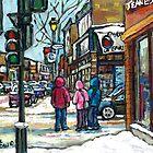 RUE WELLINGTON VERDUN MONTREAL WINTER STREET SCENE by Carole  Spandau