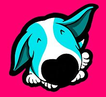 Big Nose Bull Terrier Puppy Aqua by Sookiesooker