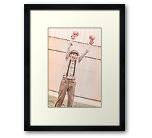 Retro boxing champion celebrating a win Framed Print