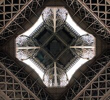 The inside of the Eiffel Tower, bottom-up view. by HelenN