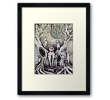 they danced under the light of the moon cat art Framed Print