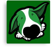 Big Nose Bull Terrier Puppy Green  Canvas Print