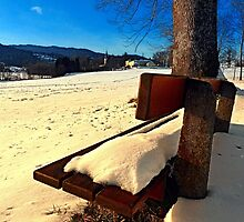 Snow covered bench in winter scenery | landscape photography by Patrick Jobst