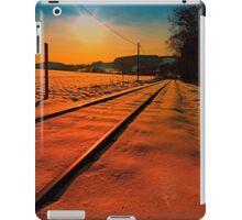 Winter season railroad sunset   landscape photography iPad Case/Skin