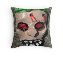 Grotesque Papier Mache Mask Throw Pillow