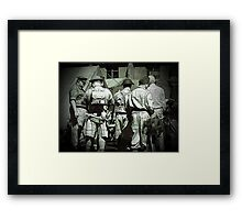 Dads army personnel preparing to go on parade in black and white. Framed Print