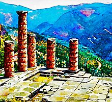 Delphi Temple by painting-greece